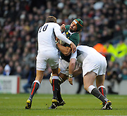 Twickenham; GREAT BRITAIN;  South Africas'  Victor MATFIELD, sandwiched during the Investec Challenge Series; England vs South Africa; Autumn International at Twickenham Stadium; Surrey on Saturday - 27/11/2010[Mandatory Credit; Photo, Peter Spurrier/Intersport-images]