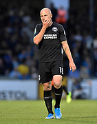 Aaron Mooy (18) of Brighton and Hove Albion during the EFL Cup match between Bristol Rovers and Brighton and Hove Albion at the Memorial Stadium, Bristol, England on 27 August 2019.