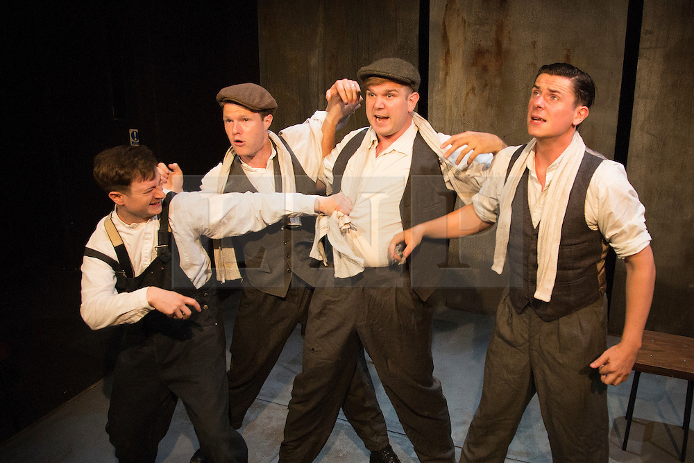 © Licensed to London News Pictures. 28/07/2015. London, UK. L-R: Salvatore D'Aquilla (Bob), Paul Tinto (Phil), Kieran Knowles (Tommy) and James Wallwork (Arthur). World premiere of the play Operation Crucible at the Finborough Theatre. The play commemorates the 75th anniversary of the Sheffield Blitz and the 70th anniversary of the end of the Second World War with four men trapped in the rubble. The play by Kieran Knowles and directed by Bryony Shanahan runs at the Finborough Theatre from 28 July to 22 August 2015. With Salvatore D'Aquilla, Kieran Knowles, Paul Tinto and James Wallwork. Photo credit: Bettina Strenske/LNP