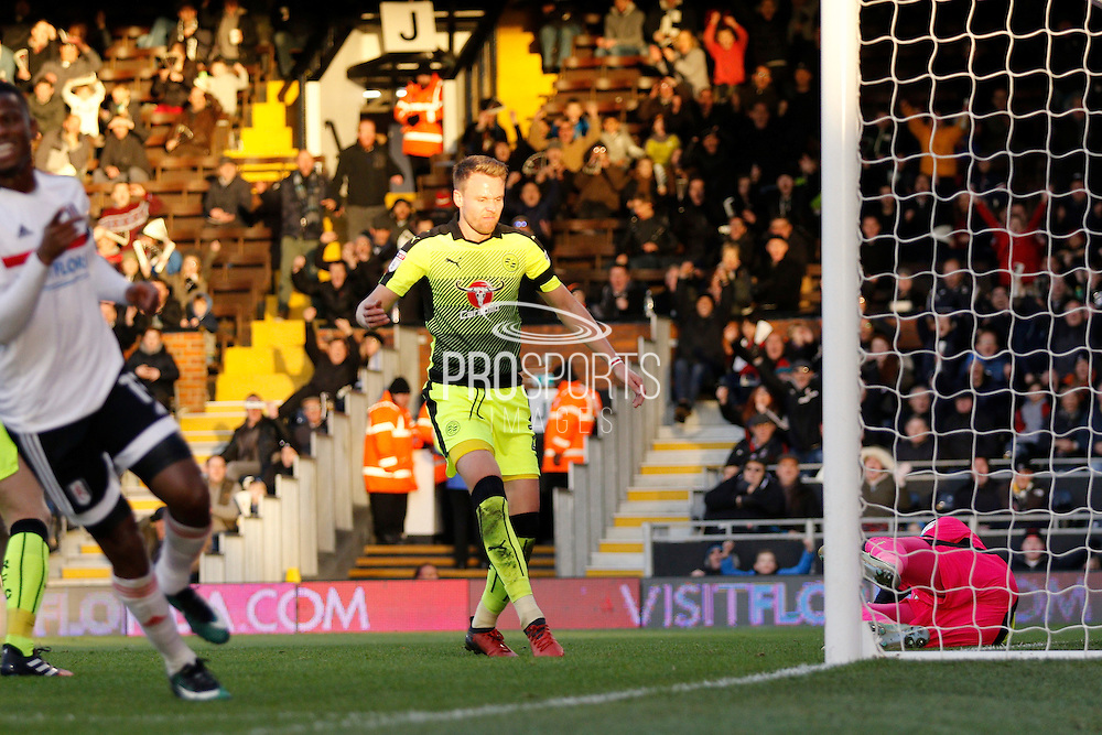 Reading defender Chris Gunter (2) scores an own goal during the EFL Sky Bet Championship match between Fulham and Reading at Craven Cottage, London, England on 3 December 2016. Photo by Andy Walter.