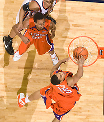 Clemson guard/forward David Potter (15) dunks against Virginia.  The Virginia Cavaliers men's basketball team fell the Clemson Tigers at 82-51 the John Paul Jones Arena in Charlottesville, VA on February 7, 2008.