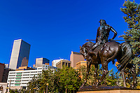 """""""On the War Trail"""" (statue by Stephen Knight), Civic Cener Park, Downtown Denver, Colorado USA."""