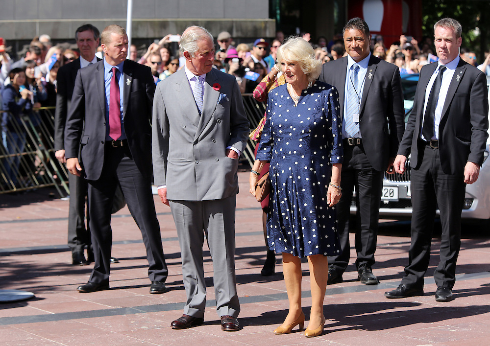 Prince Charles, Prince of Wales and Camilla, Duchess of Cornwall greet fans during a walk around Aotea Square, Auckland, New Zealand, Sunday, November 08, 2015. Credit:SNPA /  Michael Bradley, AFP  *POOL**