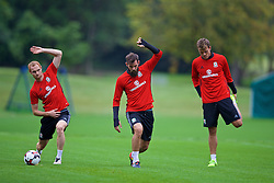 CARDIFF, WALES - Friday, September 2, 2016: Wales' Shaun MacDonald, Joe Ledley and Emyr Huws during a training session at the Vale Resort ahead of the 2018 FIFA World Cup Qualifying Group D match against Moldova. (Pic by David Rawcliffe/Propaganda)