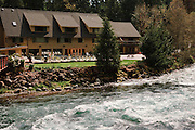 Belknap Hot Springs Resort on the McKenzie River; Cascade Mountains, Oregon.