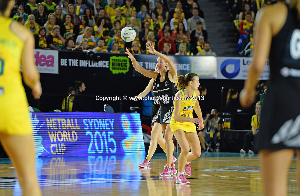 Casey Kopua  (NZ)<br /> NEW ZEALAND vs AUSTRALIA<br /> Coles International Netball Series<br /> Rod Laver Arena / Game 4<br /> Melbourne Australia<br /> Monday 7th October 2013<br /> &copy; Sport the library / Jeff Crow