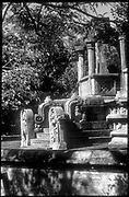 Sri Lanka.<br />The ruined city of Polonnaruwa is part of the Cultural Triangle of the country.<br />This is the Image House. Note the two guard stones at the bottom of the steps.