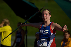 (Sherbrooke, Quebec---10 August 2008) Kirstin Stewart competing in the javelin at the 2008 Canadian National Youth and Royal Canadian Legion Track and Field Championships in Sherbrooke, Quebec. The photograph is copyright Sean Burges/Mundo Sport Images, 2008. More information can be found at www.msievents.com.