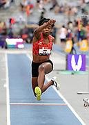 Jul 25, 2019; Des Moines, IA, USA; Keturah Orji wins the women's triple jump at 47-9 1/4  (14.56m) during the USATF Championships at Drake Stadium.