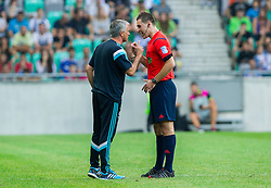Jose Mourinho, manager of team Chelsea FC complaining to referee Rade Obrenovic during Preseason friendly football match between NK Olimpija Ljubljana and Chelsea FC (ENG), on July 27, 2014 in SRC Stozice, Ljubljana, Slovenia. Photo by Vid Ponikvar / Sportida.com