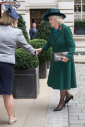 Rosewood Hotel, Holborn, London, November 1st 2016. His Royal Highness  Charles The Prince of Wales accompanied by Camilla The Duchess of Cornwall arrive at the Rosewood Hotel in Holborn, London, to greet the President of Colombia Juan Manuel Santos, who is on a State Visit to Britain, and his wife Maria Clemencia Rodriguez de Santos before travelling with them to their ceremonial welcome At Horse Guargrds Parade by Her Majesty The Queen. PICTURED: Camilla the Duchess of Cornwall arrives at the Rosewood Hotel wearing a bottle green frock coat and matching hat.