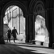 Happy couple entering the Bethesda Archade in Central Park