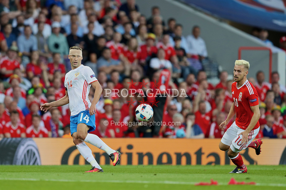 TOULOUSE, FRANCE - Monday, June 20, 2016: Russia's captain Vasili Berezutski in action against Wales during the final Group B UEFA Euro 2016 Championship match at Stadium de Toulouse. (Pic by David Rawcliffe/Propaganda)