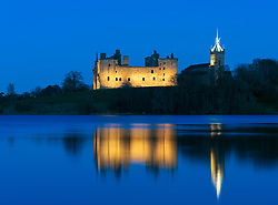 View of Linlithgow Palace at night in Linlithgow, West Lothian, Scotland, UK. Birthplace of Mary Queen of Scots.