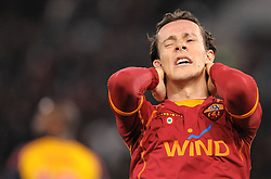 Rodrigo Taddei holds his head after missing a chance during the UEFA Champions League, Round of Last 16, Second Leg match between AS Roma and Arsenal at the Stadio Olimpico on March 11, 2009 in Rome, Italy.
