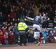 Kevin McBride congratulates Martin Boyle on his first goal in Dark Blue- Dundee v Hamilton, SPFL Championship at <br /> Dens Park<br /> <br />  - &copy; David Young - www.davidyoungphoto.co.uk - email: davidyoungphoto@gmail.com