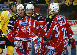 03.01.2014, Albert Schultz Eishalle, Wien, AUT, EBEL, UPC Vienna Capitals vs EC KAC, 63. Runde, im Bild Torjubel Patrick Harand, (EC KAC, #16), John Lammers, (EC KAC, #20) und Mike Siklenka, (EC KAC, #23) // during the Erste Bank Icehockey League 63rd Round match between UPC Vienna Capitals and EC KAC at the Albert Schultz Ice Arena, Vienna, Austria on 2014/01/03. EXPA Pictures © 2014, PhotoCredit: EXPA/ Thomas Haumer