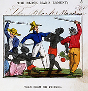 Slave traders tearing man from his wife and family before putting him on board a slave ship. From Ameilia Opie 'The Black Man's Lament; or How to Make Sugar', London, 1826