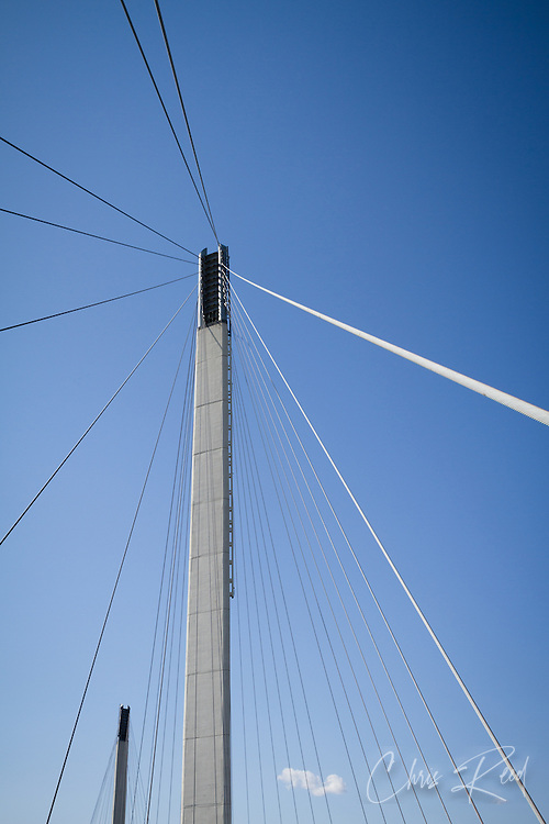 USA, Nebraska and Iowa. Tower of the Bob Kerrey Pedestrian bridge over the Missouri River connecting Nebraska and Iowa.