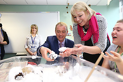 © Licensed to London News Pictures. 15/05/2017. Southport UK. Liberal Democrat leader Tim Farron meeting nursing & care students this morning at Southport College with former MP John Pugh & Lib Dem parliamentary candidate Sue McGuire on the General Election campaign trail. Photo credit: Andrew McCaren/LNP