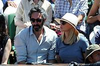 Emmanuelle BEART et son ami Frederic  - 06.06.2015 - Jour 14 - Finale Femmes - Roland Garros 2015<br />Photo : Nolwenn Le Gouic / Icon Sport