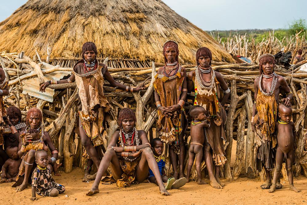 Hamer tribe people in their village, Omo Valley, Ethiopia.