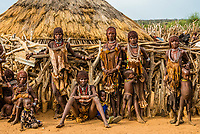 Hamer tribe people in their village, Omo Valley, Ethiopia.