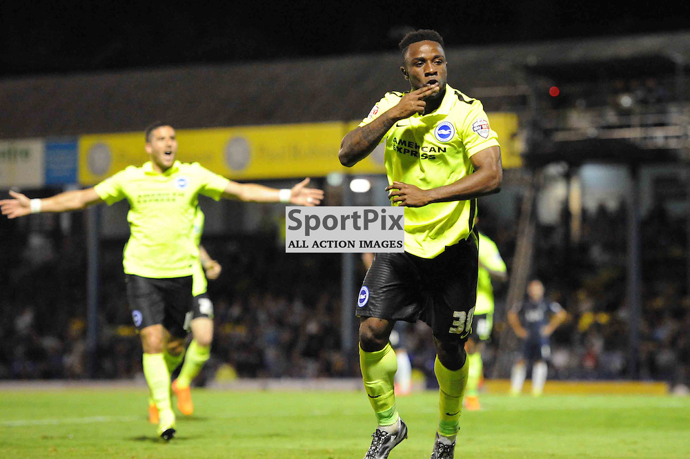 Brightons Kazenga Lualua celebrates scoring the winning goal during the Southend v Brighton match in the first round of the Capital One Cup