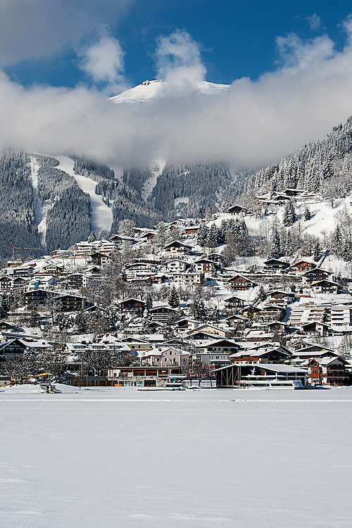 Zell Am See in Winter looking towards the ski area on the Schmittenhohe
