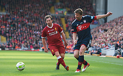 LIVERPOOL, ENGLAND - Saturday, March 24, 2018J.Robbie Fowler of Liverpool Legends in action with Ze Roberto of FC Bayern Legends during the LFC Foundation charity match between Liverpool FC Legends and FC Bayern Munich Legends at Anfield. (Pic by Peter Powell/Propaganda)