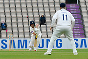 Joe Weatherley of Hampshire plays a defensive shot during the first day of the Specsavers County Champ Div 1 match between Hampshire County Cricket Club and Essex County Cricket Club at the Ageas Bowl, Southampton, United Kingdom on 5 April 2019.