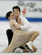 London, Ontario ---10-01-16---  Tessa Virtue and Scott Moir smile at the end of their their free dance at the 2010 BMO Canadian Figure Skating Championships in London, Ontario, January 16, 2010. Virtue and Moir won the event, securing a spot on the Olympic team headed to Vancouver in February..GEOFF ROBINS/Mundo Sport Images..