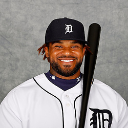 February 28, 2012; Lakeland, FL, USA; Detroit Tigers first baseman Prince Fielder (28) poses for photo day in the rec room at the Detroit Tigers Headquarters.  Mandatory Credit: Derick E. Hingle-USA TODAY SPORTS
