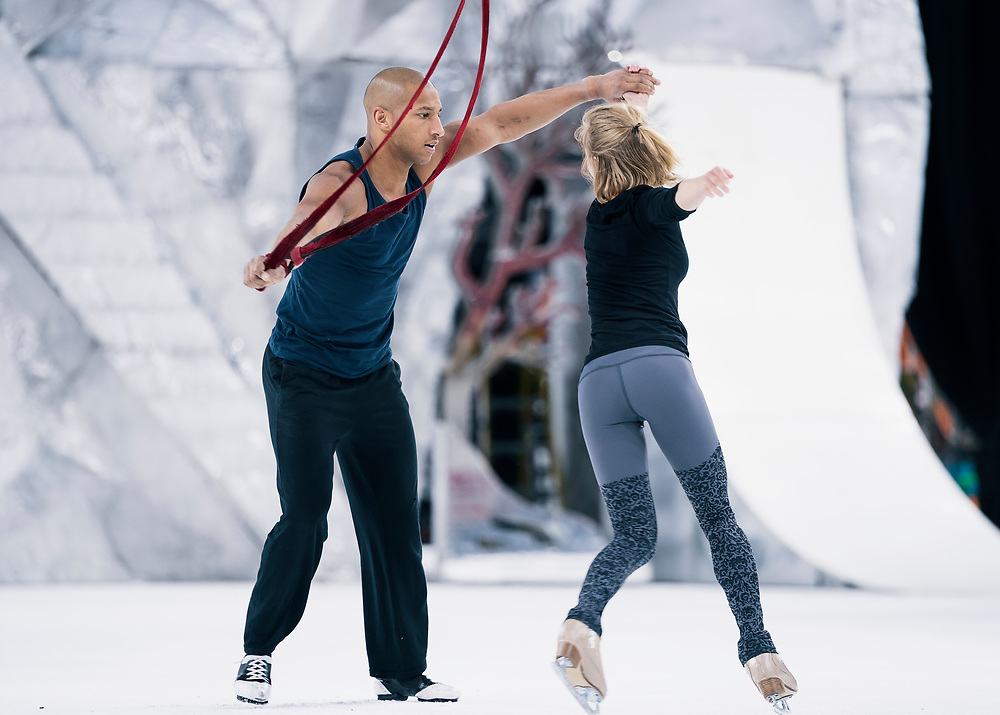 """Aerial acrobats Jérôme Sordillon and Silja Dos Reis practice during rehearsal for """"Cirque du Soleil: CRYSTAL"""" at the Alliant Energy Center in Madison, WI on Wednesday, May 1, 2019."""
