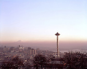 B&I26,583....WASHINGTON - 1962 photograph of Seattle's skyline, Elliott Bay and Mount Rainier from Queen Ann Hill.
