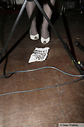 Sophie's legs, with set list, These New Puritans gig, The Junk Club, Southend, UK 2006