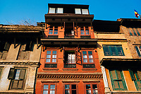 Sunshine on buildings in Patan, Nepal.