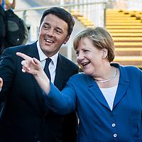 Foto Piero Cruciatti / LaPresse<br /> 17-08-2015 Milano, Italia<br /> Cronaca<br /> Angela Merkel visita Expo Milano 2015<br /> Nella Foto: Matteo Renzi, Angela Merkel<br /> Photo Piero Cruciatti / LaPresse<br /> 17-08-2015 Milano, Italy<br /> Angela Merkel visits Expo Milano 2015<br /> News<br /> In the Photo: Matteo Renzi, Angela Merkel