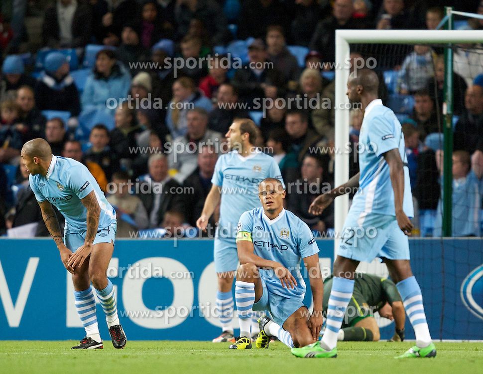 18.10.2011, City of Manchester Stadion, Manchester, ENG, UEFA CL, Gruppe A, Manchester City (ENG) vs FC Villarreal (ESP), im Bild Manchester City's captain Vincent Kompany looks dejected after Villarreal CF's first goal // during UEFA Champions League group A match between Manchester City (ENG) and FC Villarreal (ESP) at City of Manchester Stadium, Manchaster, United Kingdom on 18/10/2011. EXPA Pictures © 2011, PhotoCredit: EXPA/ Propaganda Photo/ Vegard Grott +++++ ATTENTION - OUT OF ENGLAND/GBR+++++