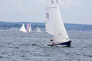 _V0A8105. ©2014 Chip Riegel / www.chipriegel.com. The 2014 Bullseye Class National Regatta, Fishers Island, NY, USA, 07/19/2014. The Bullseye is a Nathaniel Herreshoff designed 15' Marconi rig sailing boat.