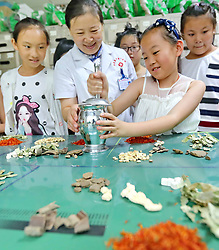 July 19, 2017 - Qinhuangdao, Qinhuangdao, China - Qinhuangdao, CHINA-July 19 2017: (EDITORIAL USE ONLY. CHINA OUT) ..Kids learn traditional culture of traditional Chinese medicine in Qinhuangdao, north China's Hebei Province, July 19th, 2017. (Credit Image: © SIPA Asia via ZUMA Wire)