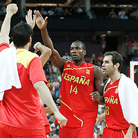12 August 2012: Spain Serge Ibaka is congratulated by his teammates during 107-100 Team USA victory over Team Spain, during the men's Gold Medal Game, at the North Greenwich Arena, in London, Great Britain.