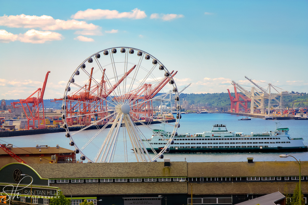 Boat and Ferris Wheel - Seattle, WA