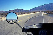 drivers view on motorcycle of rearview mirror California