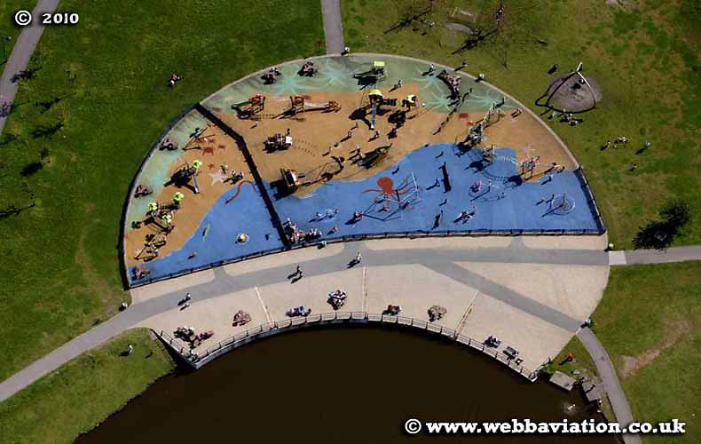 aerial photograph of Central Forest Park   Stoke-on-Trent Staffordshire UK