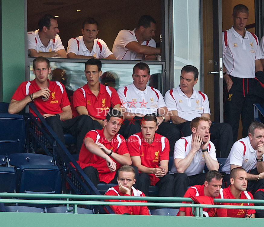 BOSTON, MA - Thursday, July 19, 2012: Liverpool's manager Brendan Rodgers and his players visit Fenway Park to see the Boston Red Sox take on the Chicago White Sox during the side's North American pre-season tour. (Pic by David Rawcliffe/Propaganda)