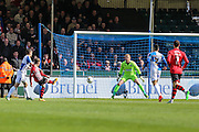 Exeter City's Jake Taylor shoots to score early in the second half, 2-1 during the Sky Bet League 2 match between Bristol Rovers and Exeter City at the Memorial Stadium, Bristol, England on 23 April 2016. Photo by Shane Healey.