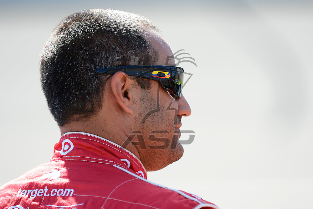 Brooklyn, MI  - Aug 17, 2012: Juan Pablo Montoya (42) stands on pit row during qualifying for the Pure Michigan 400 at Michigan International Speedway in Brooklyn, MI.