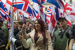 London, April 1st 2017. Deputy Leader of Britain First Jayda Fransen yells as protesters from nationalist and anti-Islamic group demonstrate in London following the Westminster terror attack of March 22nd.