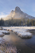 Fresh autumn snow on Liberty Bell Mountain and meadows of Washington Pass. North Cascades, Washington